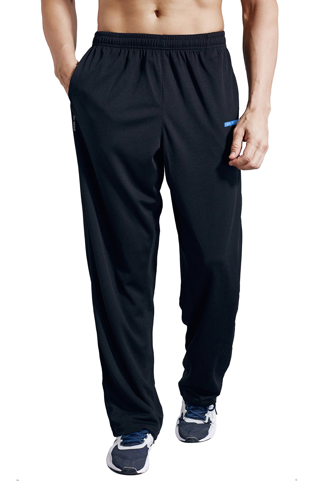 ZENGVEE Men's Sweatpant with Pockets Open Bottom Athletic Pants for Jogging, Workout, Gym, Running, Training(0317-Solid Black,S)