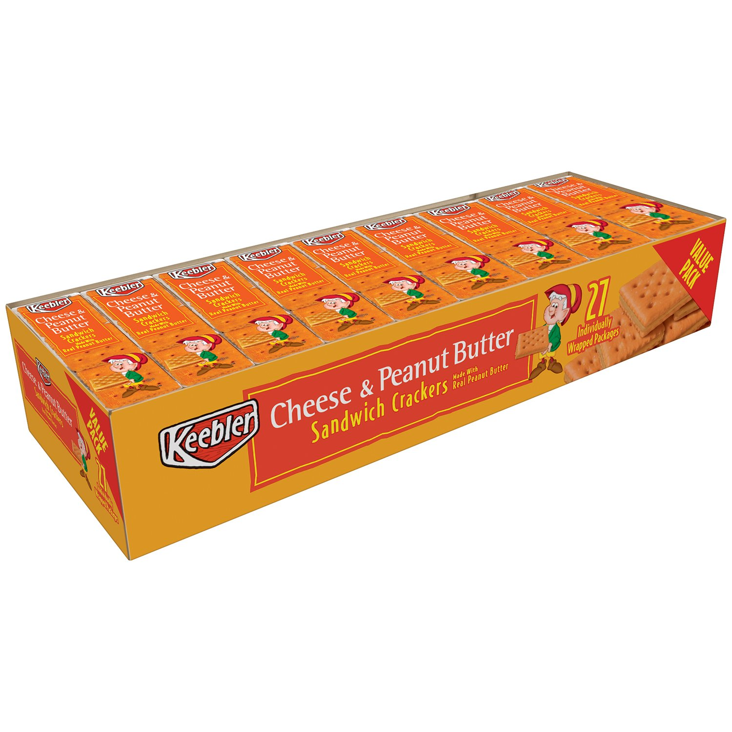 Keebler Cheese and Peanut Butter Crackers Snack Packs, 27 Count