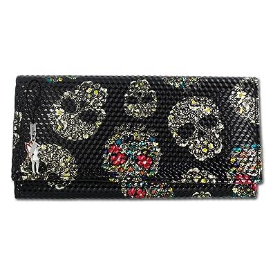 ab6751799f8652 DrachenLeder New Design Geldbörse Damen Portemonnaie Skull Kunststoff  schwarz OPD713S
