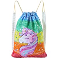 MHJY Unciorn Drawstring Bag Reversible Mermaid Sequin Bag Sparkly Gym Dance Backpack Bling Travel Bag