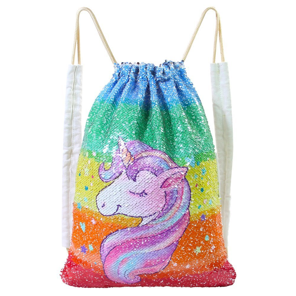 MHJY Unicorn Bag Sequin Drawstring Backpack Dancing Bag Swim Dance Bag Sequin Backpack Flip Sequin Bling Bag for Beach Hiking Bags (Colorful Unicorn) by MHJY