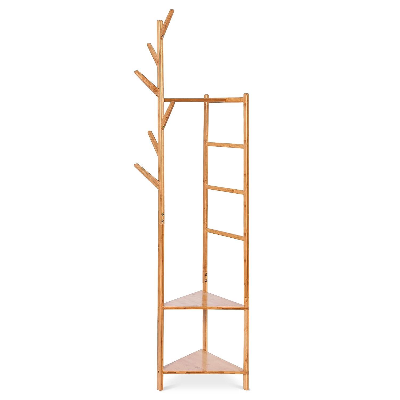 Camera da Letto 181 cm ad Angolo in bamb/ù bamb/ù 1 Appendiabiti e 1 Appendiabiti Hododou per corridoio Versatile Appendiabiti 4 in 1 4 in 1 Soggiorno 4 in 1 con 2 Ripiani