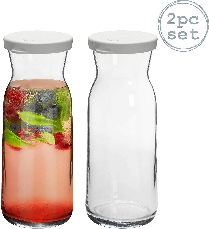 Argon Tableware 2 Piezas de Cristal Brocca Jarra de Agua con Tapa Set - Decanter jarro de Agua, Vino, té Helado - 700ml
