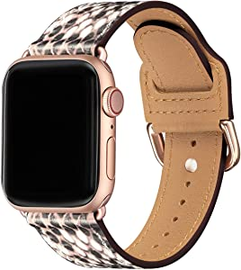 POWER PRIMACY Bands Compatible with Apple Watch Band 38mm 40mm 42mm 44mm, Top Grain Leather Smart Watch Strap Compatible for Men Women iWatch Series 6 5 4 3 2 1,SE(Snake Print/Rosegold,38mm 40mm)