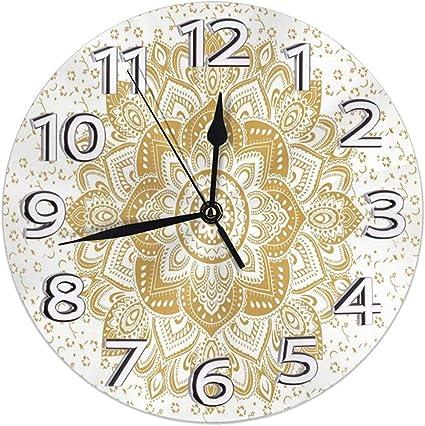 Kncsru Horloges murales Rondes silencieuses Non tic-tac Trinacria Sicilienne Sicilia Pride Clocks Horloge de Bureau silencieuse analogique /à Quartz /à Piles