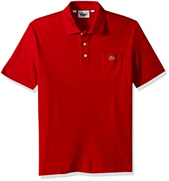 2dbc4c18 Lacoste Men's Short Sleeve '85th Anni' 30's Pocket Pique Slim Polo, DH7343  at Amazon Men's Clothing store: