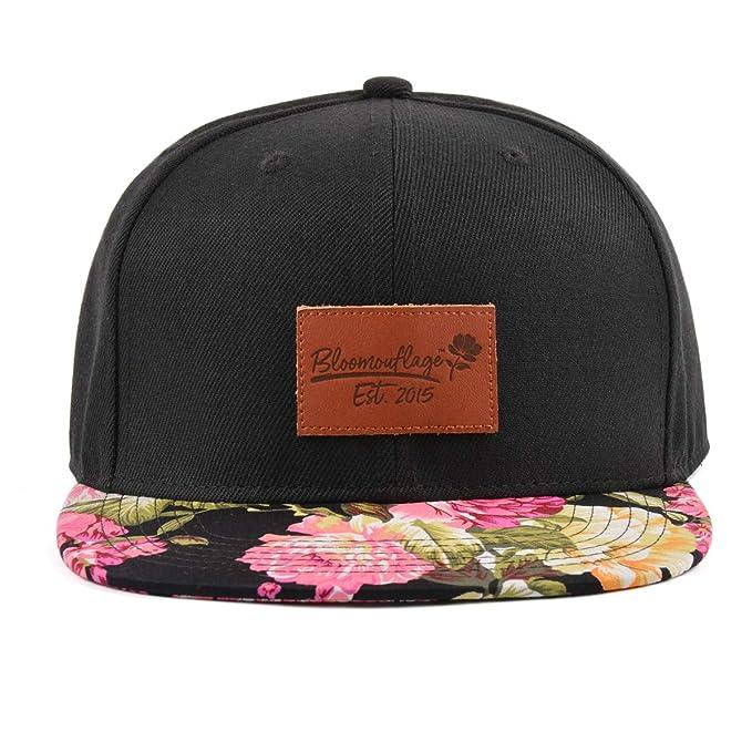 17d161e96 Bloomouflage Brand Black Floral Flat Bill Snapback Hat