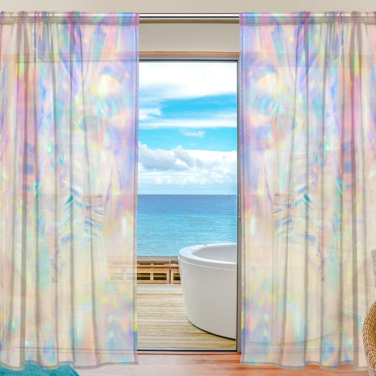 Floral Holographic Iridescent Metallic Semi Sheer Curtains Window Voile Drapes Panels Treatment-55x84in for Living Room Bedroom Kids Room, 2 Pieces