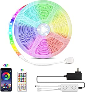 LUXPOWER 32.8ft LED Strip Lights 5050 RGB LED Light Strip Color Changing 40-Key Remote for TV Home Ceiling Bars & Party DIY Decoration, Music Sync APP Control with Remote, Sensitive Built-in Mic