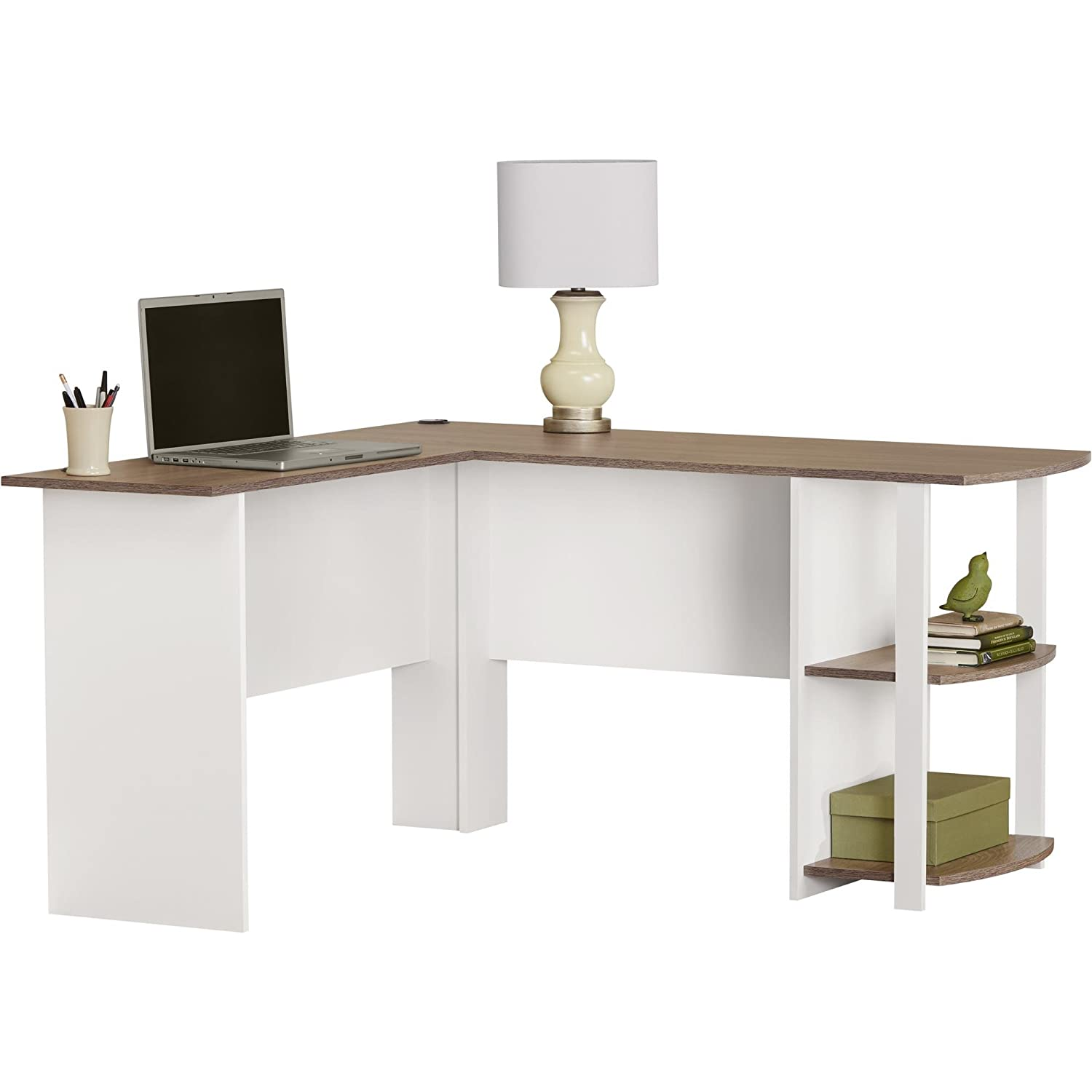 Amazon.com: Ameriwood Home Dakota L-Shaped Desk with Bookshelves ...