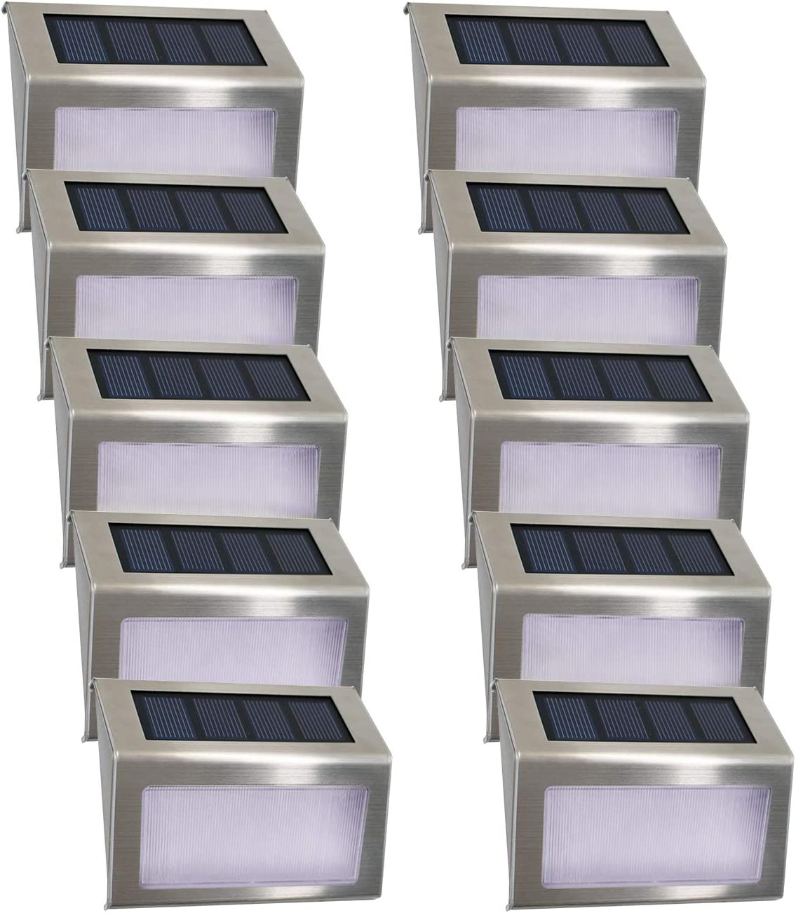 Fence 2 x Stainless Steel Solar Powered Led Wall Door Step Lights Outdoor