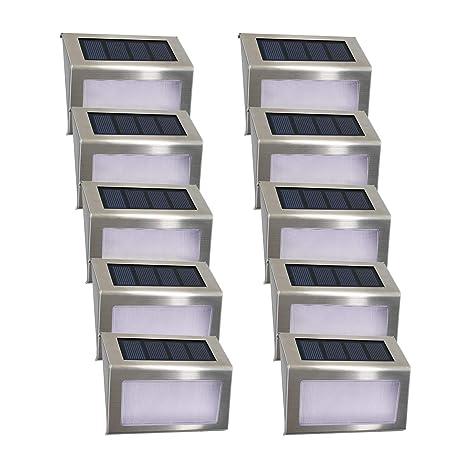 10 Paquets Lampe Solaire Jardin Exterieur 4led Easternstar Eclairage Exterieur Solaire Impermeable En Acier Inoxydable Pour Cloture Jardin