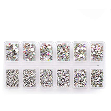 d39da376e86b Zealer 1800pcs Crystals AB Nail Art Rhinestones Round Beads Top Grade  Flatback Glass Charms Gems Stones for Nails Decoration Crafts Eye Makeup  Clothes Shoes ...