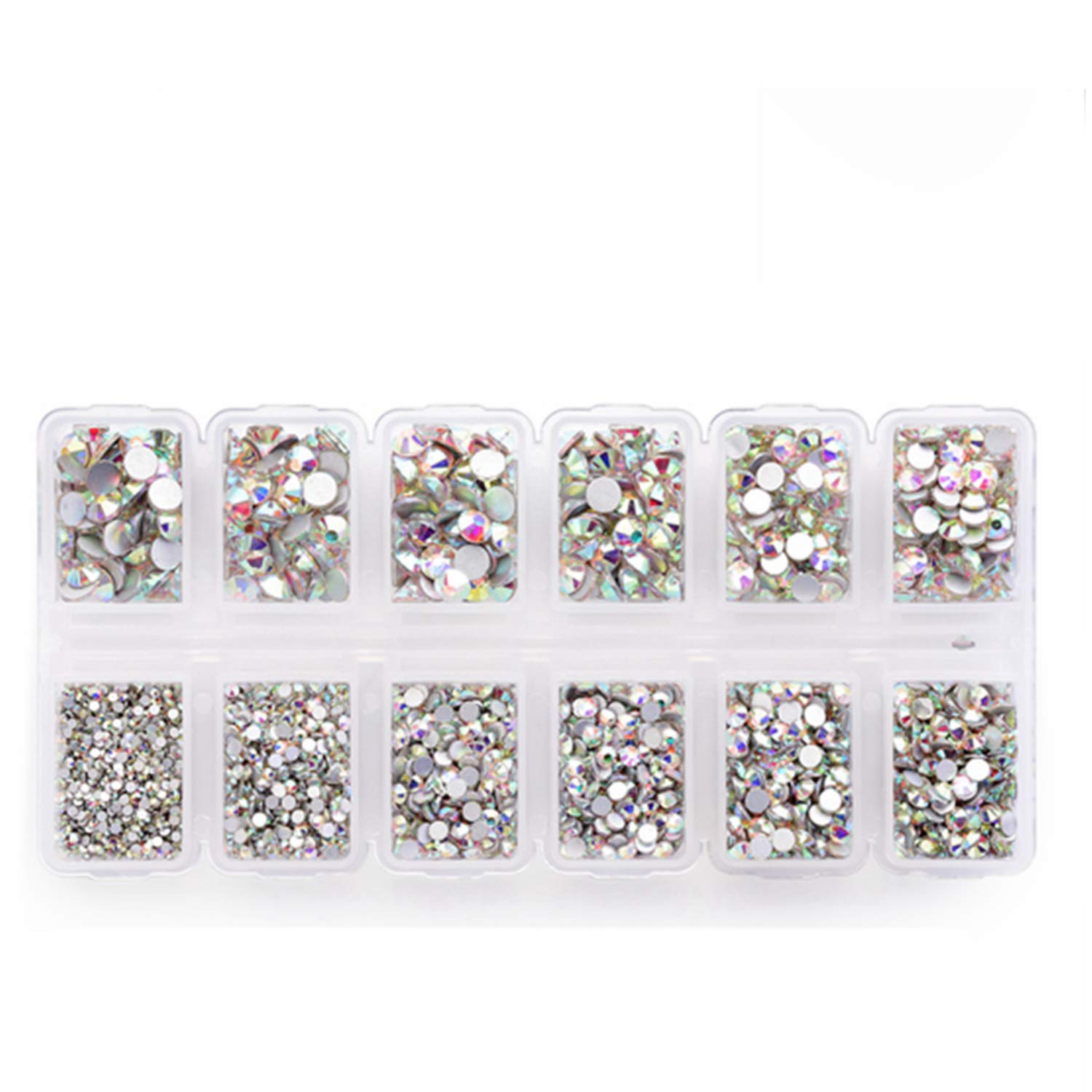 Zealer 1800pcs Crystals AB Nail Art Rhinestones Round Beads Top Grade  Flatback Glass Charms Gems Stones 51264028f1bd