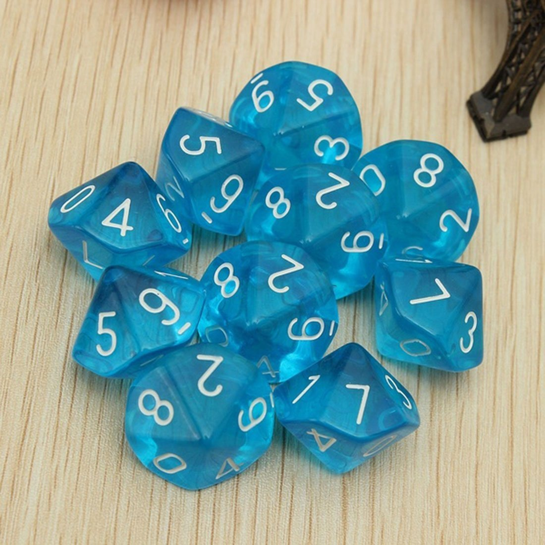 Dices TOOGOO 10-Dices D10 Ten Sided Gem Dice Die for RPG Dungeons/&Dragons Board Table Games Transparent Blue R