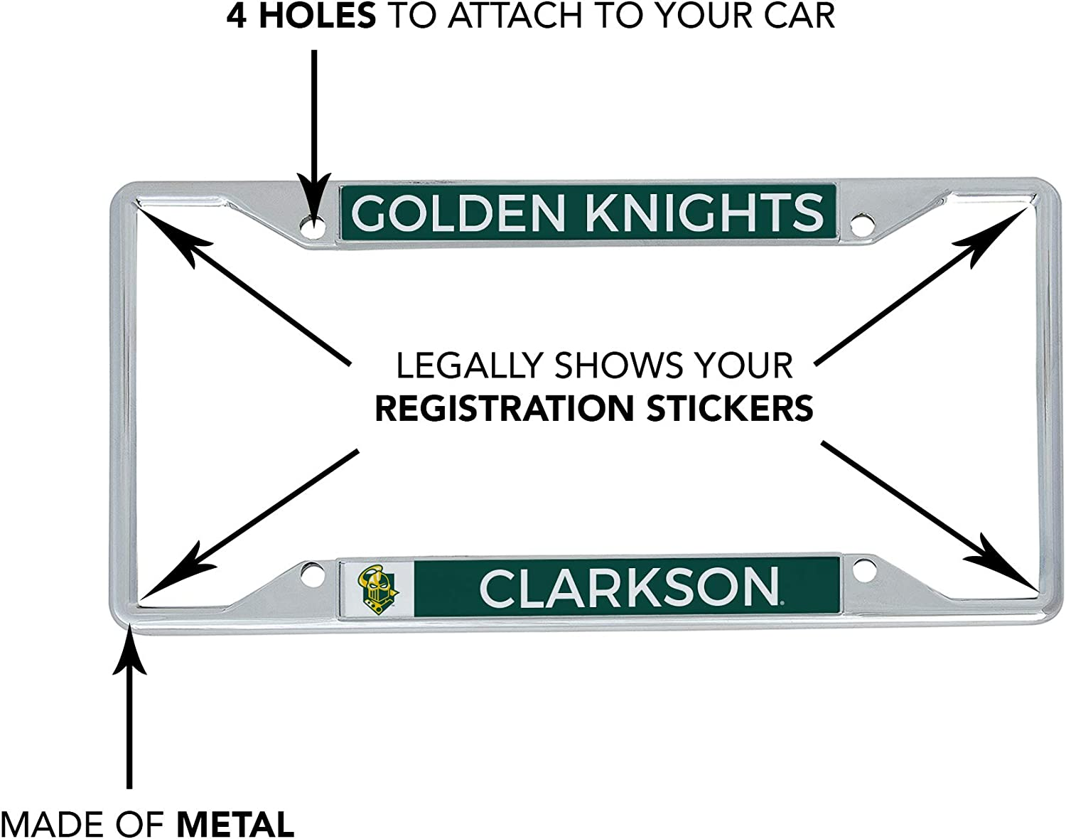 Mascot Desert Cactus Clarkson University Golden Knights NCAA Metal License Plate Frame for Front or Back of Car Officially Licensed