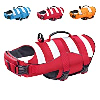 Malier Dog Life Jacket, Ripstop Dog Life Vest Adjustable Dog Life Preserver with Strong Buoyancy and Durable Rescue Handle Dog Jacket for Small Medium Large Dogs Swimming Boating (Red, Large)