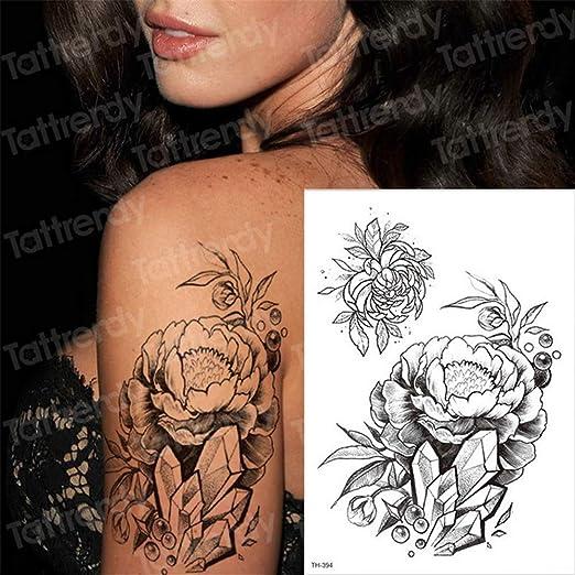 tzxdbh 3pcs-Negro de la Flor del Tatuaje Temporal del Tatuaje de ...