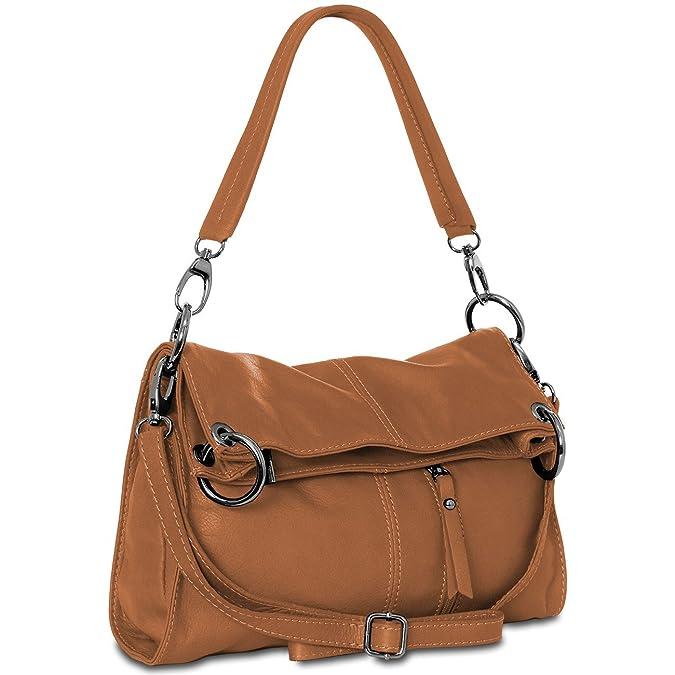 c92f5cdef88b8 CASPAR mittelgroße Damen Multifunktions Handtasche   Schultertasche    Umhängetasche aus weichem Leder - viele Farben -