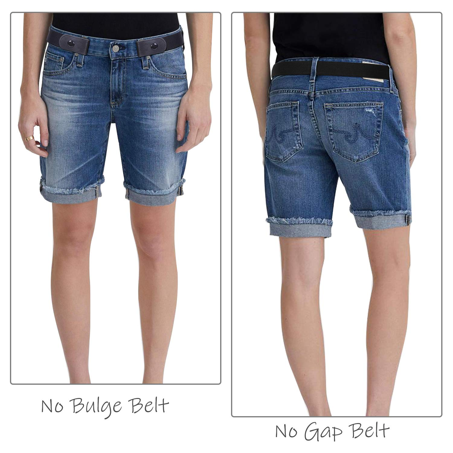 Buckle-Free Women No Buckle Invisible Stretch Belt For Jeans, Black, Large(Pants Size 34-48 Inches)