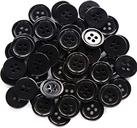 GANSSIA 5/8 Inch 4 Holes Black Buttons 15mm Sewing Round Button for Craft Pack of 160 Pcs