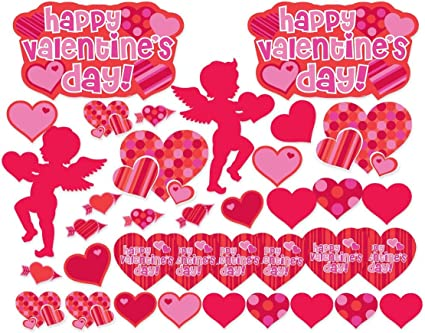 48 Piece Valentine/'s Day Holiday Party Paper Plates /& Matching Napkins Heart Set