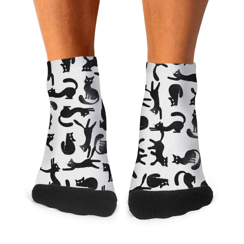 Floowyerion Mens vintage black cats kitten Novelty Sports Socks Crazy Funny Crew Tube Socks