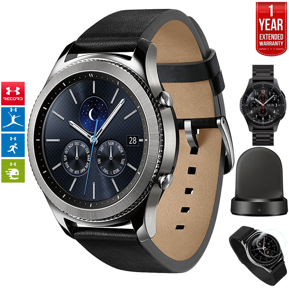 Beach Camera Samsung Gear S3 Classic Bluetooth Watch with Built-in GPS Silver (SM-R770NZSAXAR) with Wireless Charger Bundle + Wrist Band Black + 1 Year Extended Warranty