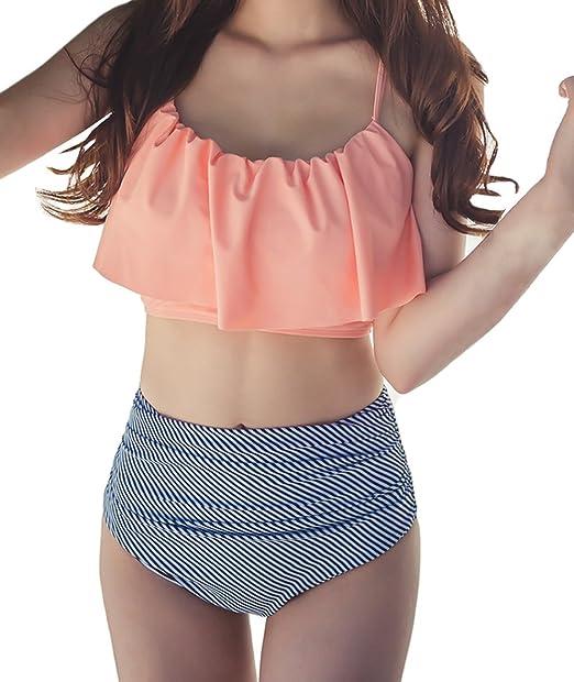 1285cc060be4 DELEY Mujer Cintura Alta Bikini Set Lindo Volantes Correa Padded ...