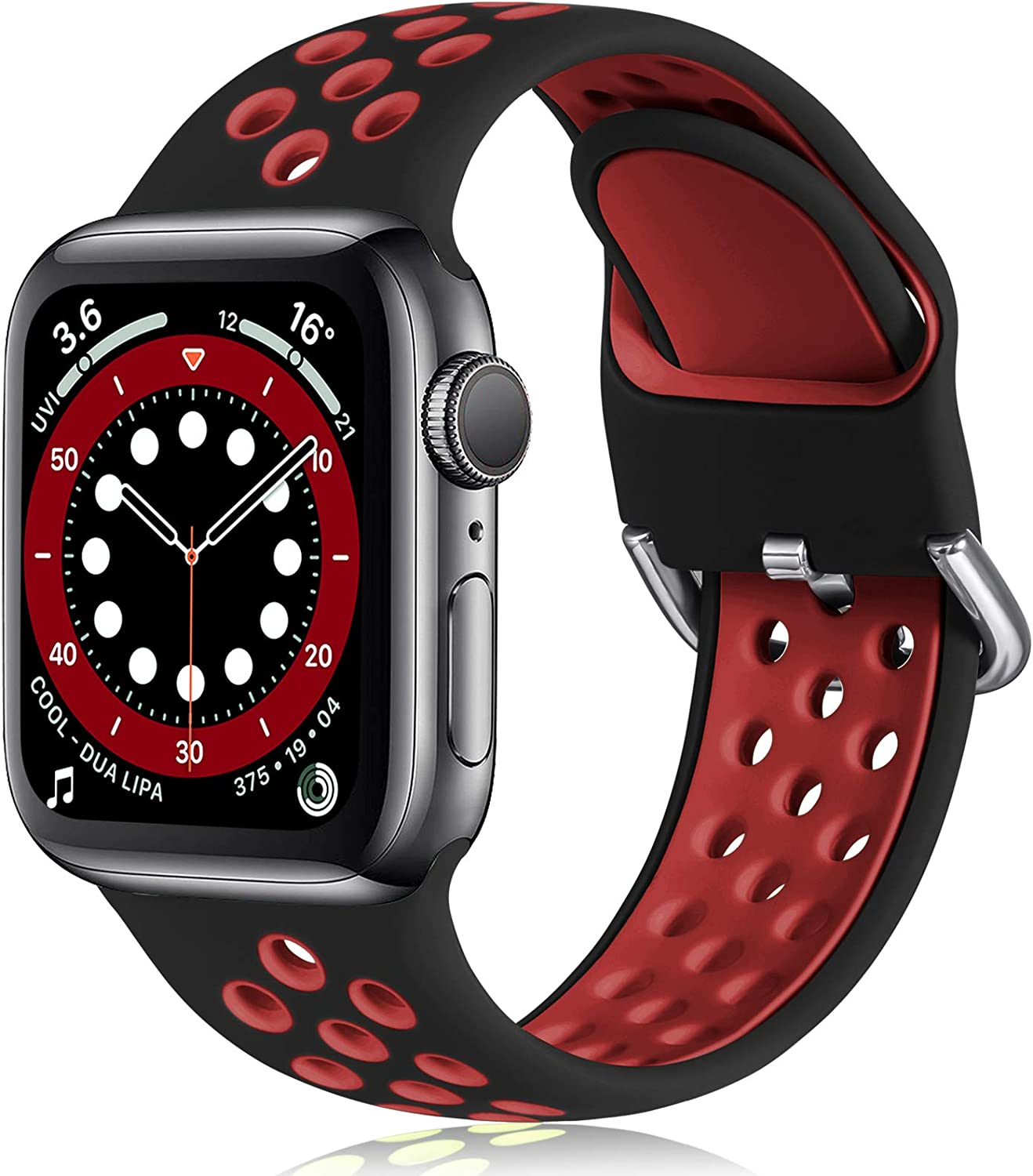 Witzon Compatible with Apple Watch Band 42mm 44mm Soft Silicone Waterproof Breathable Replacement Wristband Sport Bands for iWatch Series 1/2/3/4/5/6/SE Women Men, Black Red, M/L