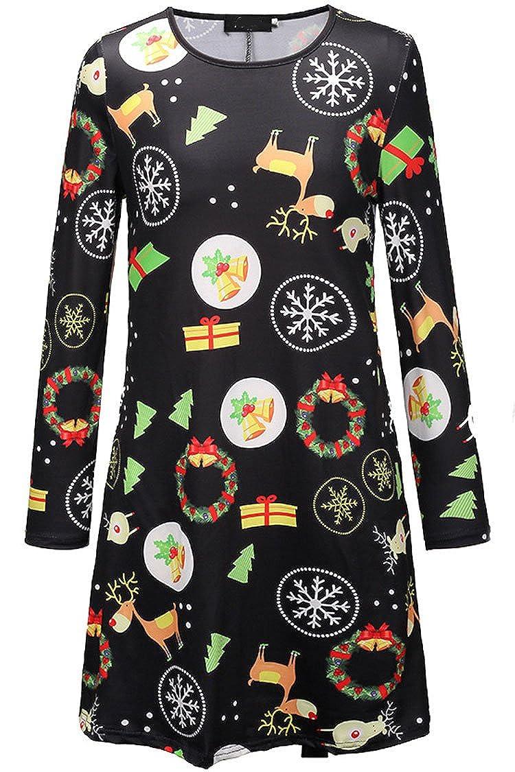 Herose Female Festive Patterns Ugly Christmas Dress Funny A-line Minidress Outfits Dress0014