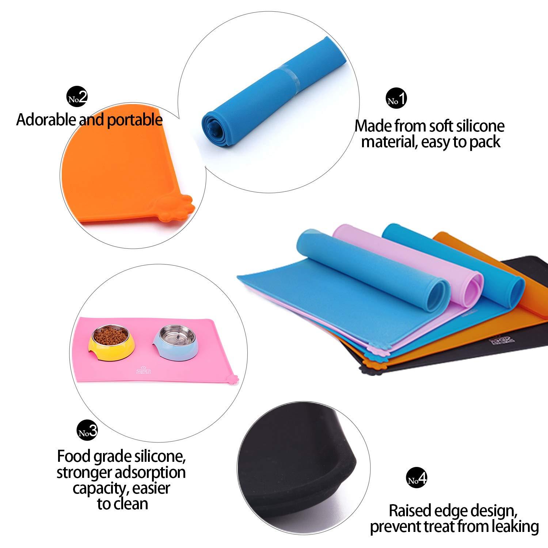 Super Design Alfombrilla para comedero Perro de Silicona Estera Comida Antideslizante Impermeable Tapete para Comer para Comedero Doble