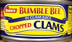 Snow's Bumble Bee CHOPPED CLAMS in Clam Juice 6.5oz (5 Pack)