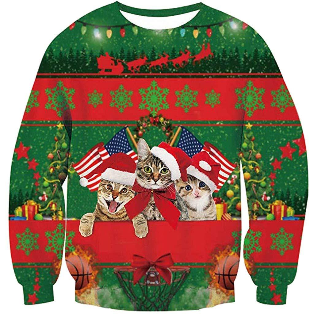 friendGG❤️❤️ Weihnachtspullover Herren Damen Unisex Weihnachtlicher Sweatshirt Weihnachtspullis Weihnachtspullover Rundhals L/ässige Herbst Winter Weihnachten 3D Drucken Langarm Top Sweatshirt
