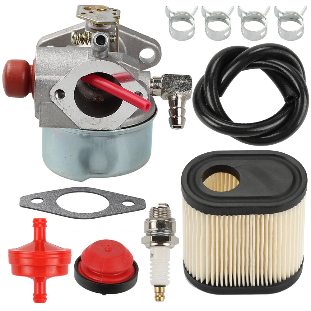 Hilom 640350 Carburetor Air Filter Spark Plug Fuel Line Primer Blub for Tecumseh Toro Recycler 640271 640303 LV195EA LEV100 LEV105 LEV120 20016 20017 20018 6.75 HP Toro Lawnmowers