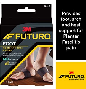 Futuro Therapeutic Arch Support, Helps Relieve Symptoms of Plantar Fasciitis, 48510EN, Adjustable, Satisfaction Guaranteed