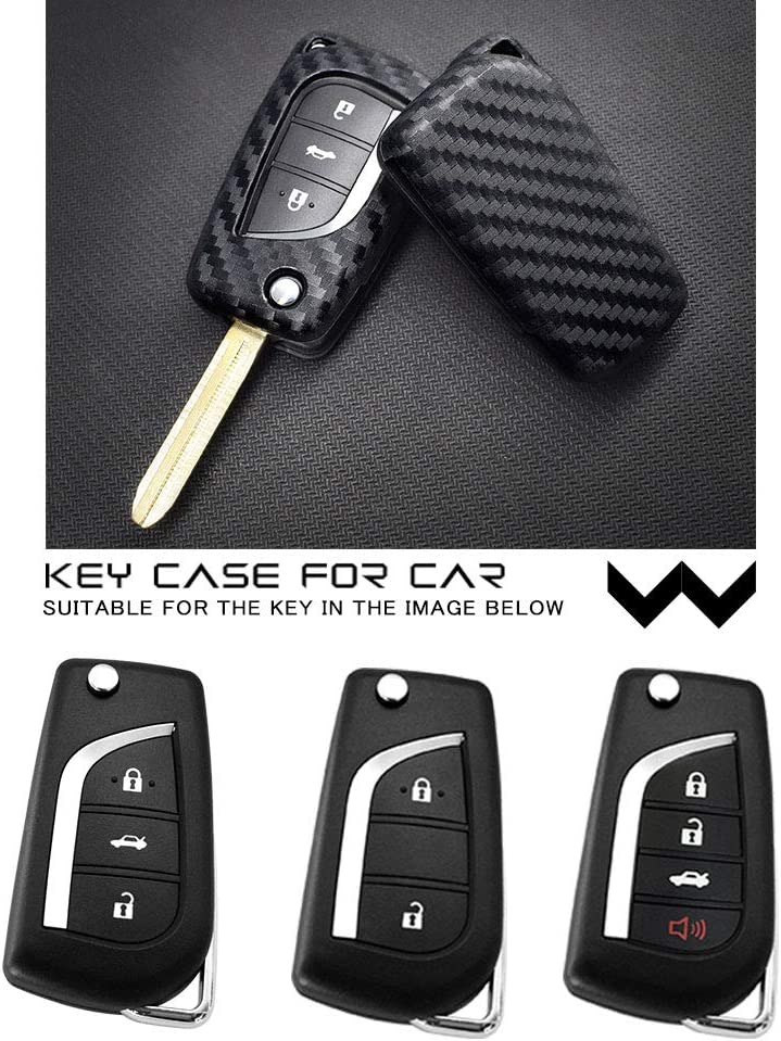 Ceyes Car Key Fob Cover Remote Key Cover Smart Key Protect Cover Carbon Fiber Texture Folding Key Cover Case Shell Skin for Toyota Camry Prius Corolla Avensis Highlander Yaris Levin Fortuner Rav4-2pcs