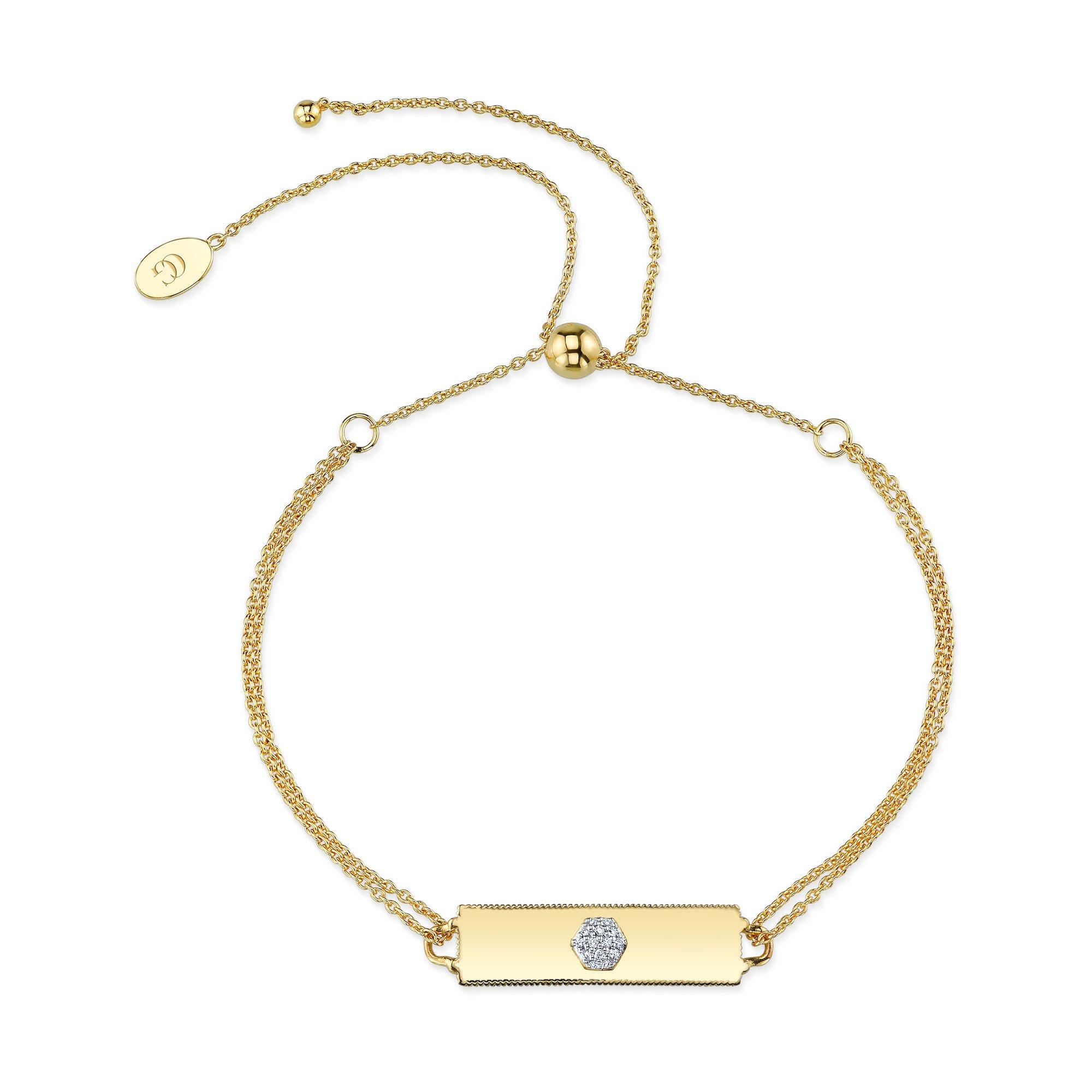 CHARLIZE GADBOIS Sterling Silver Diamond Bracelet (0.054 cttw, I1-I2 Clarity) Gold Plated