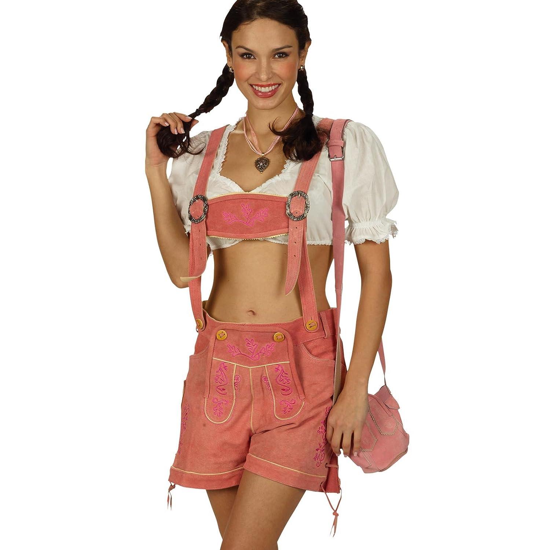 Sexy kurze Damen Trachtenlederhose rosa mit Hosenträger Hot Pant Gr. 34-42