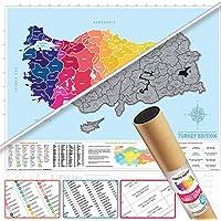Kazınabilir Türkiye Haritası Scratch Map Türkiye İl Plakalı + Alan Kodlu Büyük Boy 50x70 Gez Kazı