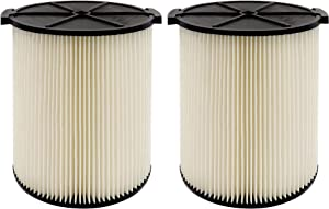 VF4000 Replacement Cartridge Filter for Ridgid 72947 Wet Dry Vac 5 to 20-Gallon 6-9 Gal Husky Craftsman Compatible with RV2400A RV2600B WD5500 WD0671,2 Pack