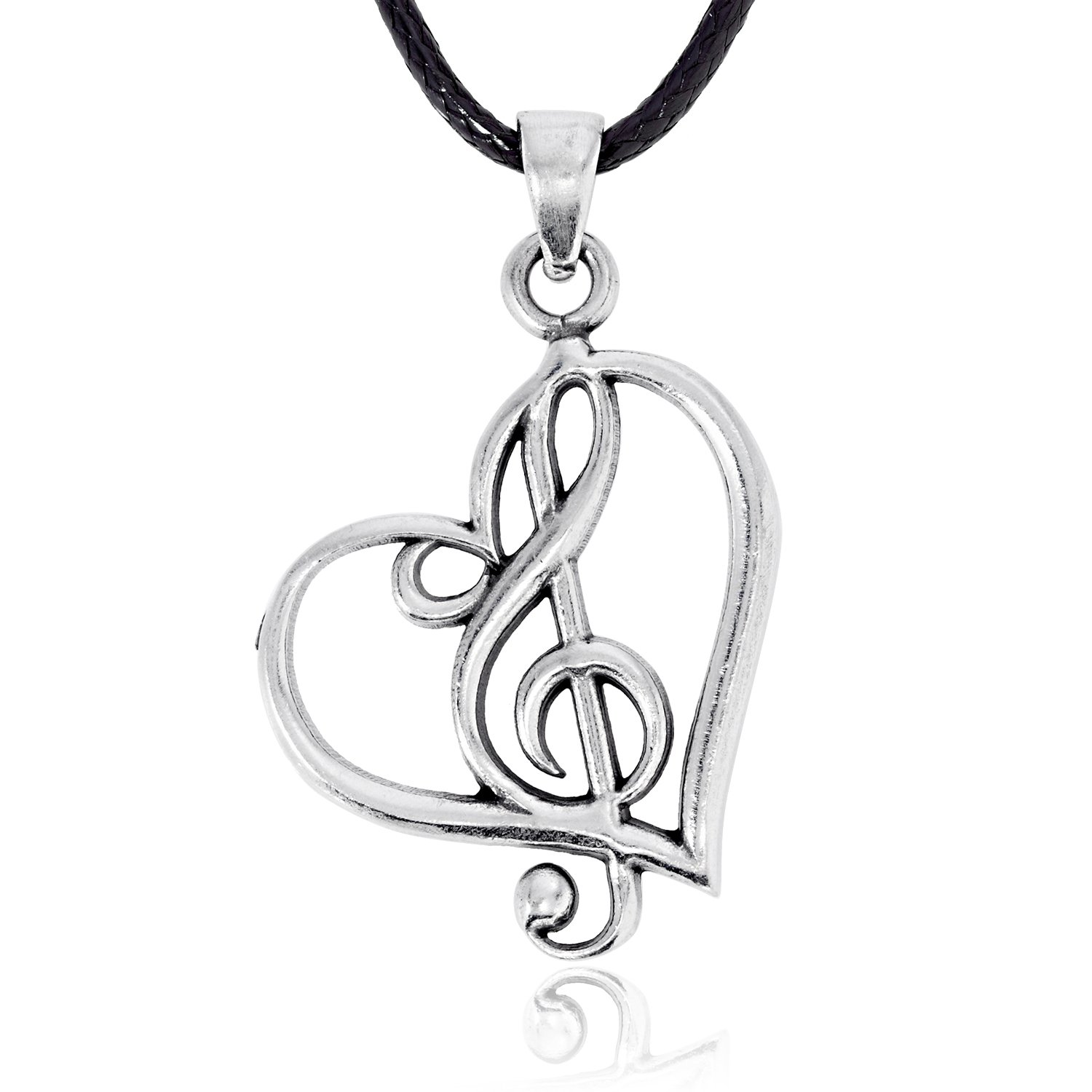Dan's Jewelers Treble Clef Heart Pendant Necklace + Silver Plated Clasp, Fine Pewter Jewelry