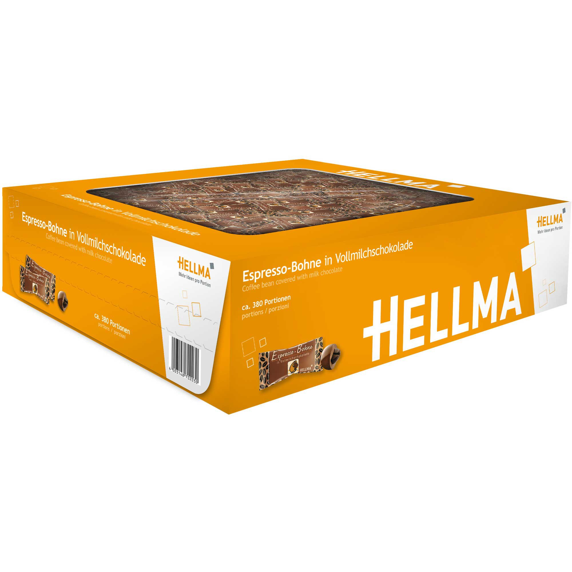 Hellma espresso bean in full milk chocolate 380 Pieces (418g)