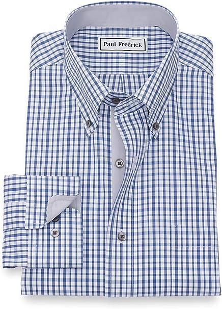 Paul Fredrick Mens Classic Fit Non-Iron Cotton Silk Stripe Dress Shirt