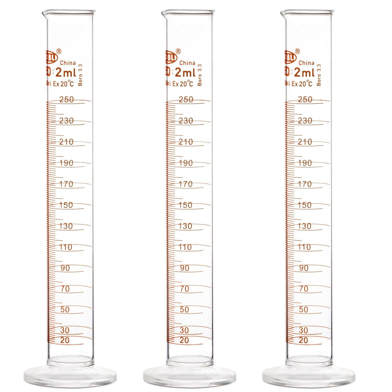 10 ml StonyLab 3-Paquet Cylindre Gradu/é en Verre Borosilicat/é Glass Cylinder