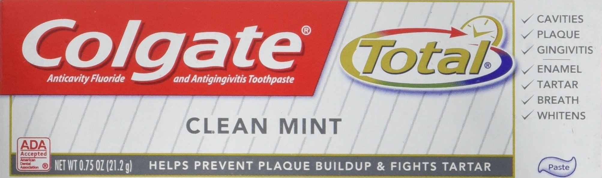 Colgate Total Toothpaste, Anticavity Fluoride and Antigingivitis, Clean Mint Travel Size, TSA Aproved, 0.75 Oz (Pack of 6)