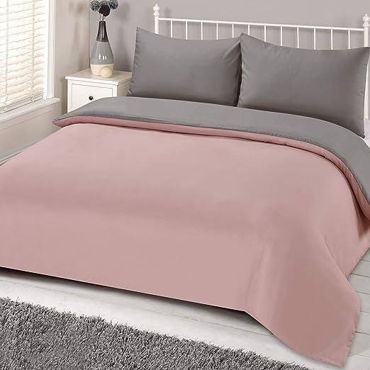 Brentfords Plain Dye Duvet Cover Quilt Bedding Set With Pillowcase
