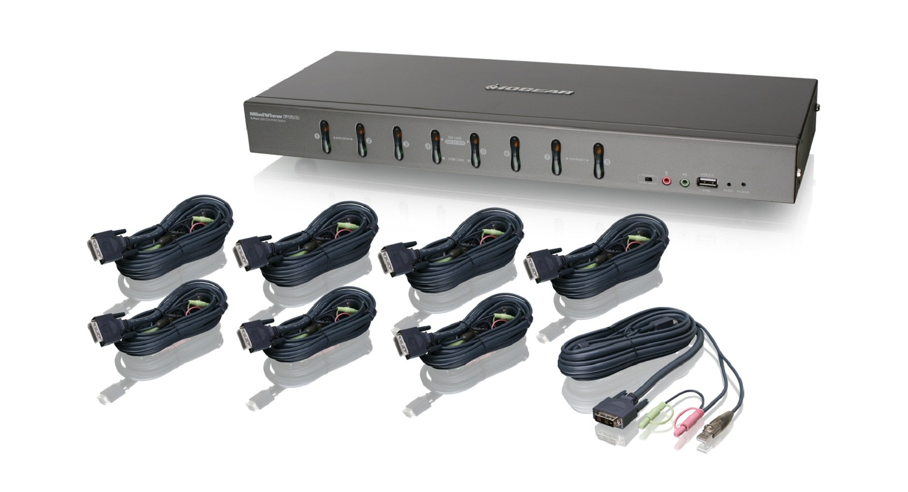 IOGEAR 8-Port Rackmount DVI and VGA KVMP Switch with 8-DVI-D USB KVM Cables, GCS1108KIT1