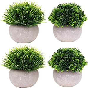 UltraOutlet 4 Packs Small Artificial Plants in Pot Mini Faked Potted Plants Decorative Faux Plants Centerpiece Topiary Shrubs for Office, Bathroom, Home Decoration, Green