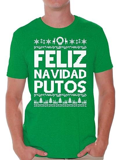 7f5877e480 Awkward Styles Feliz Navidad Putos Christmas Tshirt Funny Xmas Shirts for  Men Green S